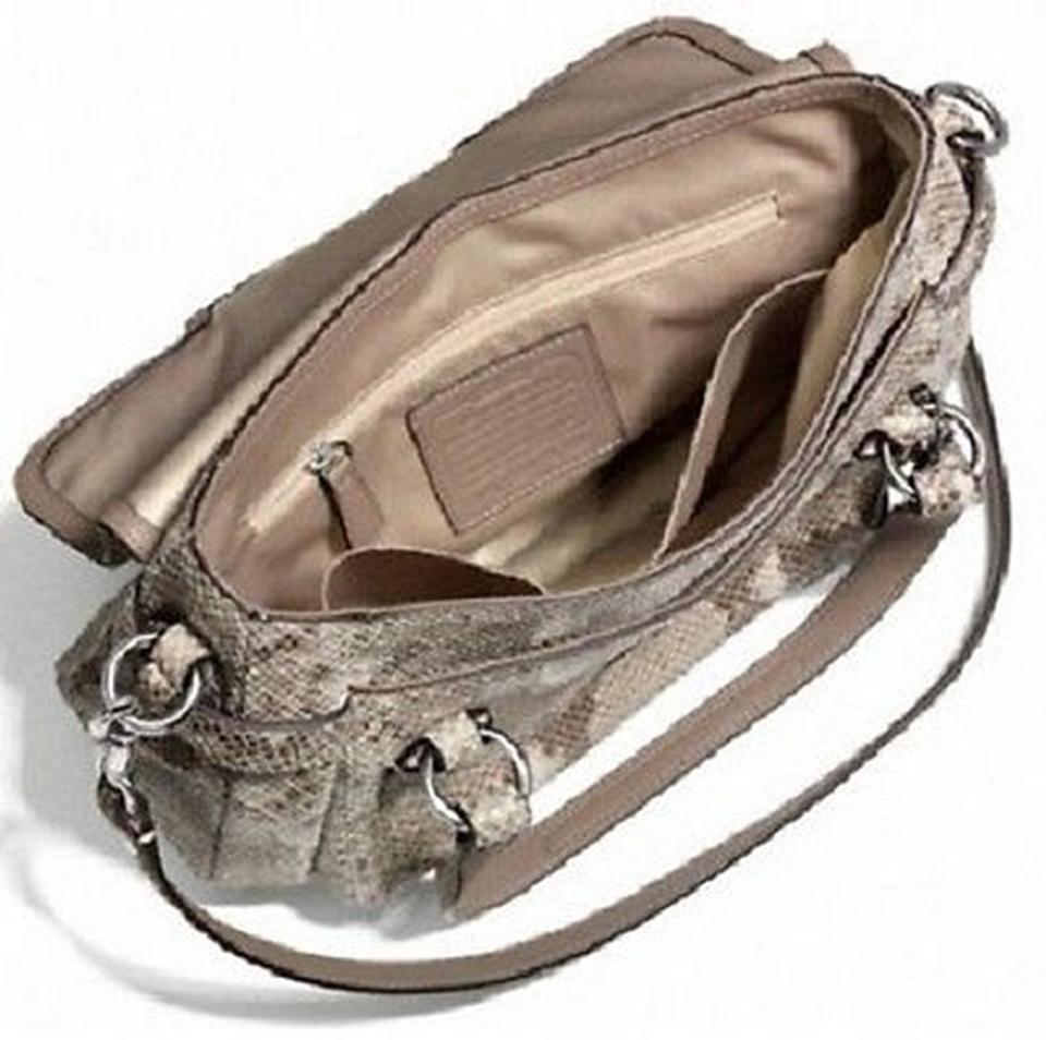 a21101d3a0e6 Coach Genuine Leather Nickel Hardware Short   Long Strap Embossed Print  Satchel in Python tan