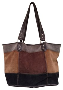 Tignanello Tote in Gray Tan Dark Brown