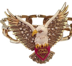Betsey Johnson Betsey Johnson Diamond Bald Eagle Bird Gold Bracelet Diamond Heart Bracelet American Gold Rhinestone Vintage