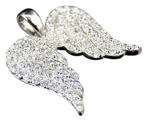 Other Sterling Silver Angel Wing Simulated Lab Diamond Pendant Finished In White Gold