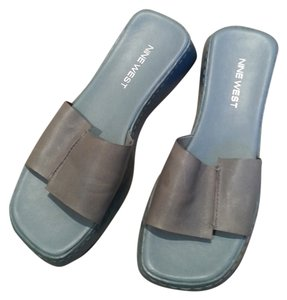 Nine West Leather Slip On Light Blue Sandals
