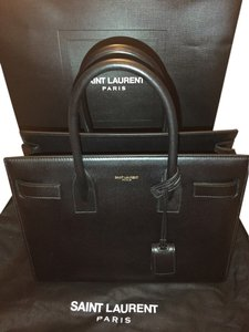 Saint Laurent Classic Style Understated Leather Tote in black
