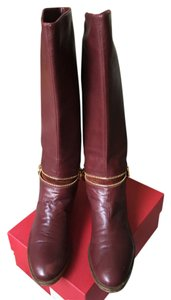 Sergio Rossi Leather Zipper Burgundy Boots