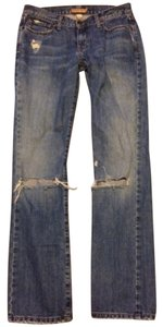 Abercrombie & Fitch Indigo Stonewash Classic Casual Comfortable Boyfriend Cut Jeans-Distressed