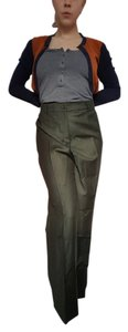 Bernardo Never Worn High Waisted Zins Pleat Wide Leg France Trouser Pants Olive Green