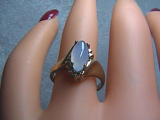 Other Vintage 10k Solid Yellow Gold Icy Translucent Lavender & Diamond Jade Ring