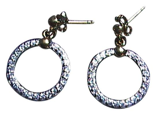 Unknown Sterling Silver 2 Tone Color CZ Diamond Accent Dangle Stud Earrings