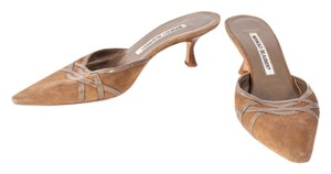 Manolo Blahnik Pointed Toe Suede Leather Brown Mules