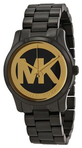 Michael Kors Black Io Plated MK Logo Print Gold Dial Ladies watch