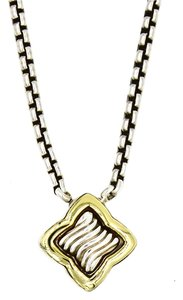 David Yurman Quatrefoil Necklace in 18k Yellow Gold and 925 Sterling Silver, Length 16
