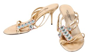 Dolce&Gabbana Dolce & Gabbana Crystal Studs Pumps Gold Sandals