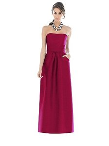Alfred Sung Sangria Dupioni Silk D509 Traditional Bridesmaid/Mob Dress Size 6 (S)