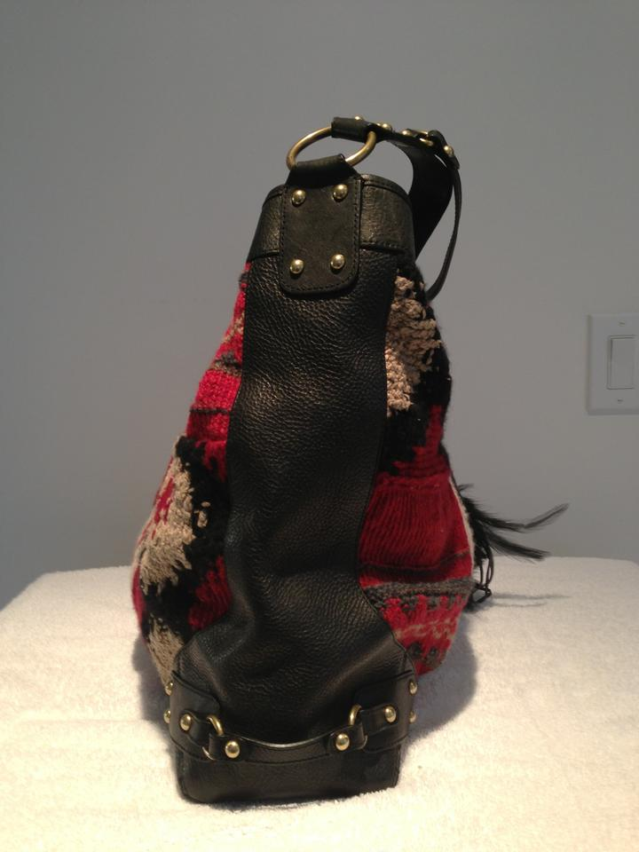 b9b7ea574309 Ralph Lauren Collection Red Black Tan Grey Navajo Blanket Patchwork and  Leather Hobo Bag - Tradesy