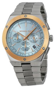 Michael Kors Silver tone Stainless Steel with Blue Dial Mens Sports Casual Watch