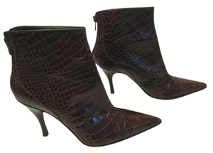 Via Spiga Capped Toe Brown embossed all leather Italian ankle Boots