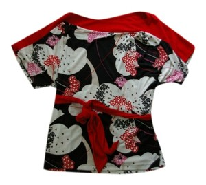 New York & Company Black White Top Black, White, Red