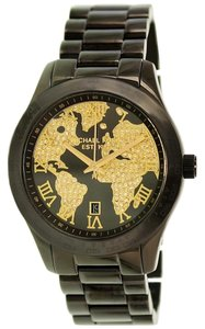 Michael Kors Black Ion Plated Gold CRystal Pave Map Print Dial Designer Watch