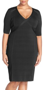 Adrianna Papell V-neck Body-con Knit Sheath Dress