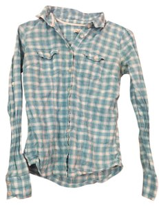 Aéropostale Checkered Flannel Country City Button Down Shirt Light blue/white
