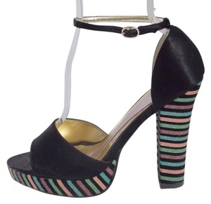 Hale Bob Black Satin Gltter Striped Heels Ankle Strap Size 7.5 Sandals Retro Black, Multi-Color Platforms