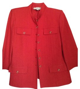 St. John Boucle Gold Hardware Button Down Shirt red