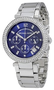 Michael Kors Blue Dial Silver tone Crystal Pave Designer Watch