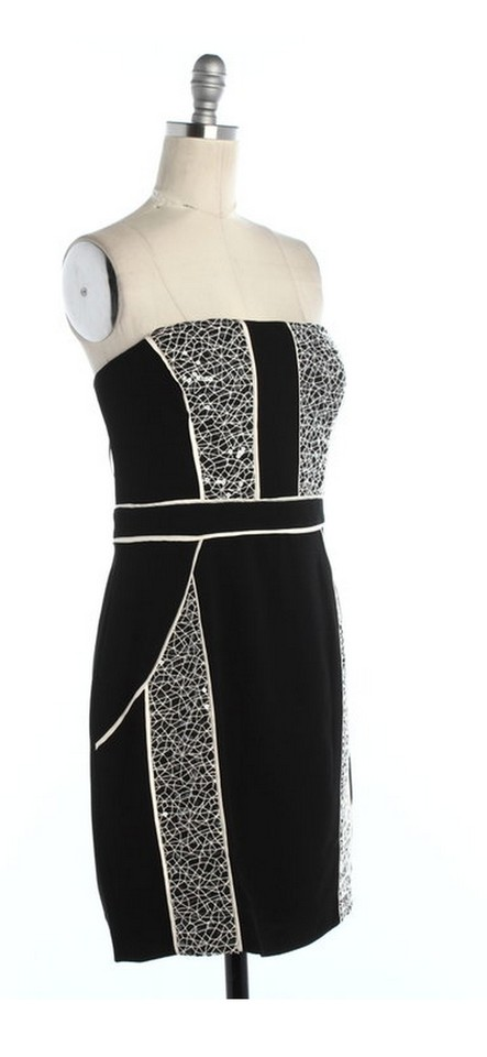 Max And Cleo Black White Sequined Strapless Hailey Above