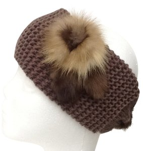 Other Women's Acrillc Knit Outerwear Headband With Natural Fur Application and Fixed Fur Button Closure