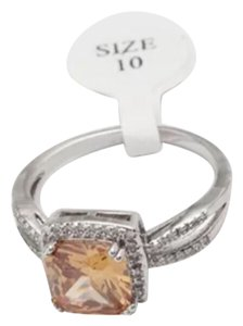 Other Champagne CZ White Gold Filled Cocktail Ring