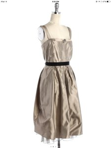 Vera Wang Pewter/Light Gold Lame and Tulle Twinkle Flower Formal Bridesmaid/Mob Dress Size 8 (M)
