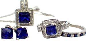 Jared Diamond & Sapphire Set 18k White Gold .68 Carat - 5 Piece Set