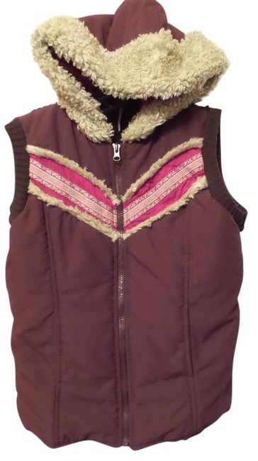 Item - Brown Hot Pink Orange Red Green Puffer Front Sweater Knit Back Hoodie Vest Size 6 (S)