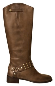 Charles David Distressed Studded Italian Vintage Brown Boots