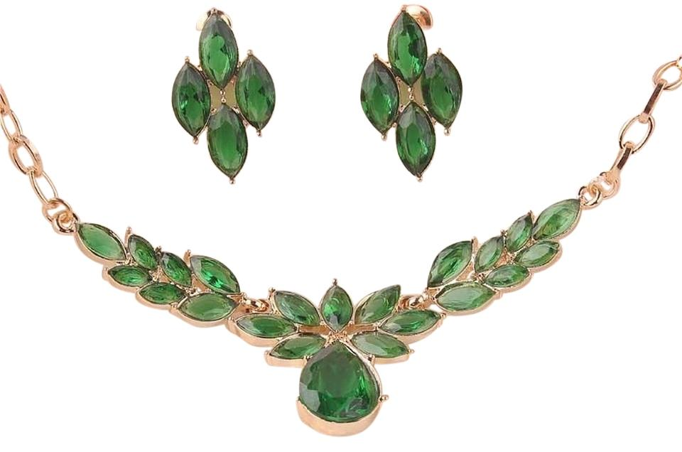 Other Rose Gold Filled Austrian Faux Emerald Earrings Necklace Set
