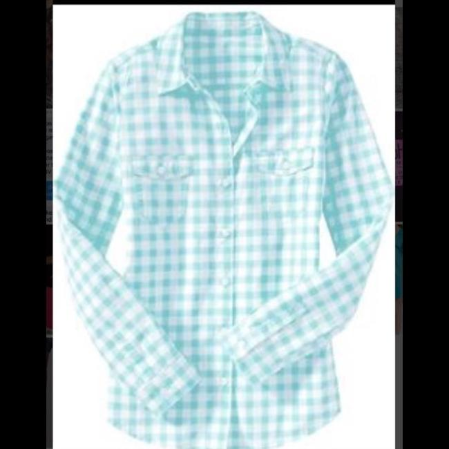Old Navy Western Longsleeve Casual Button Down Shirt baby blue and white plaid