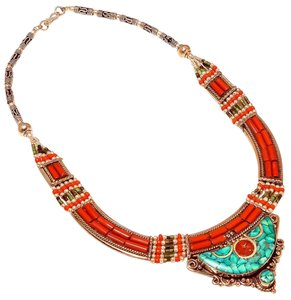 Tibetan Tibetan Turquoise and Coral Necklace