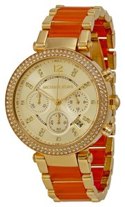 Michael Kors Gold tone and Orange Acetate Crystal Pave Bezel Ladies Watch
