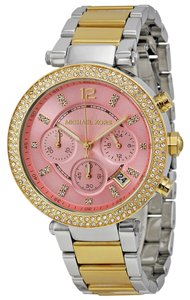 Michael Kors Crystal pave Silver and Gold Two Tone Pink Dial Designer watch