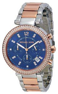 Michael Kors Two Tone Silver and Rose Godl Navy Blue Dial Crystal Pave watch