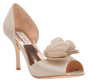Badgley Mischka Thora Satin Heel Nude Pumps