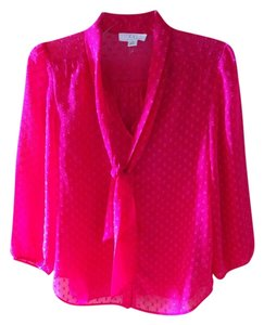 Forever 21 Polka Dot Tie Flowy Top hot pink
