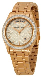 Michael Kors Crystal Pave Dial Rose Gold tone Designer Ladies Glitz Watch
