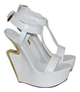 Giuseppe Zanotti White Leather Wedges