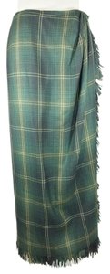 Tahari Maxi Skirt Green Plaid