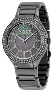 Michael Kors Runway Gunmetal and Mother of Pearl with Crystals Dial Ladies Designer Watch