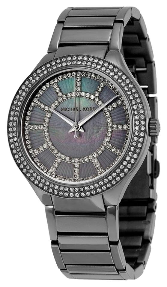 e51b7fb55005 Michael Kors Gunmetal Runway (Mother Of Pearl Crystals) Watch - Tradesy