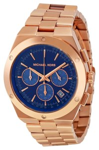 Michael Kors Navy Blue Dial Rose Gold Stainless Steel Mens Casual Watch