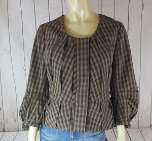 Tracy Reese Tracy Reese Brown Plaid Check Pleated Peplum Blazer Jacket