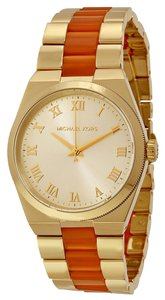 Michael Kors Gold tone and Orange Acetate Dress Designer Ladies Watch