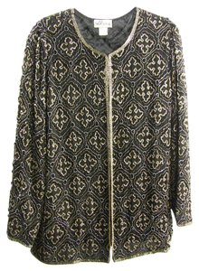J Kara Vintage Beaded Sequin Classic Top black, gold, silver